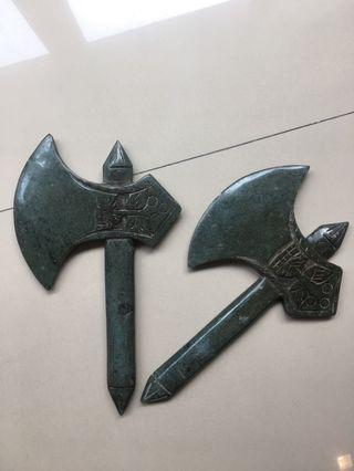 Pair of Chinese Handcarved Green Stone - Axes