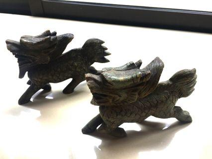 Pair of Chinese Handcarved Green Stone - Flying Dragons