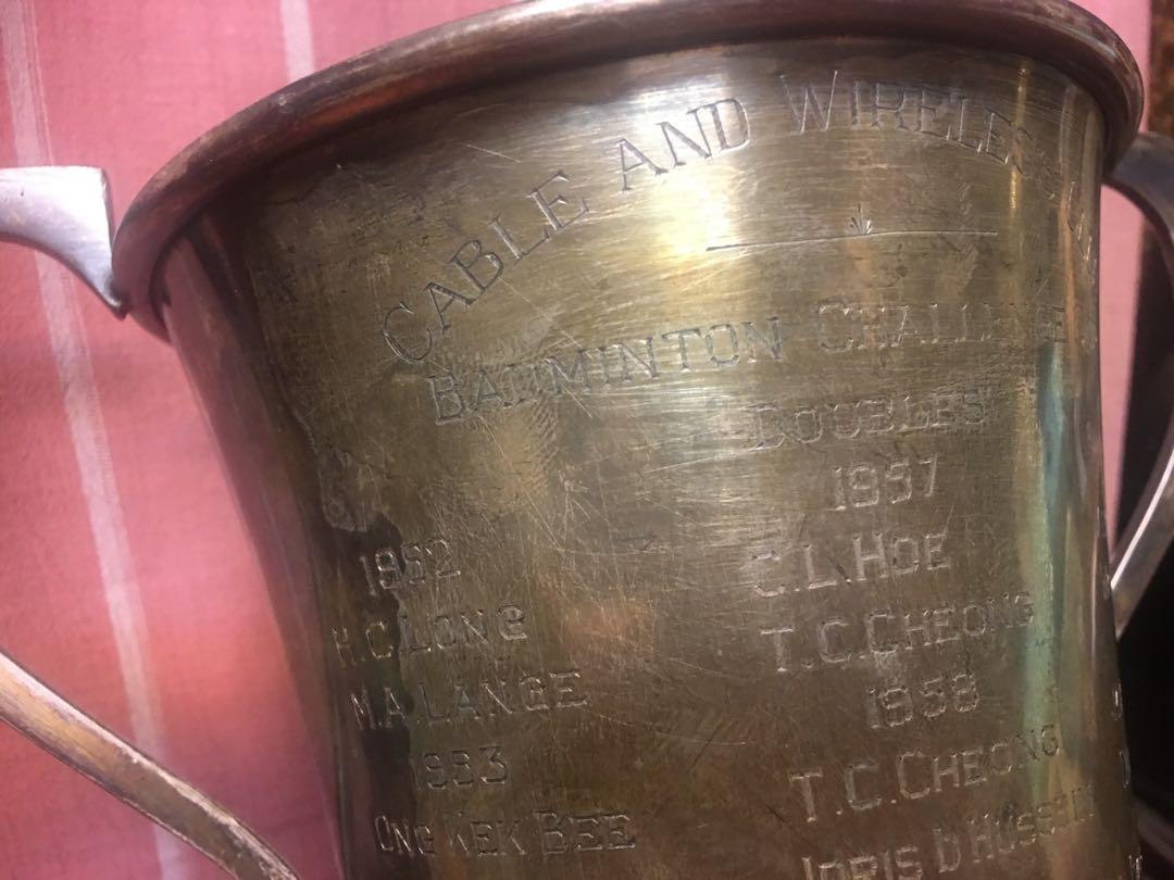 1952 Silver Badminton challenge trophy/ cave and wireless