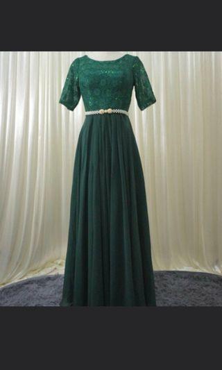 NEW emerald green dinner dress evening gown party L