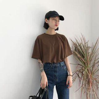 🆕🇰🇷🇨🇳 brown basic oversized tee