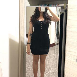 復古感排釦坑條貼身洋裝