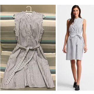 【二手|只穿過2次】UNIQLO超柔棉A字條紋洋裝 連身洋裝(無袖)M號100%棉