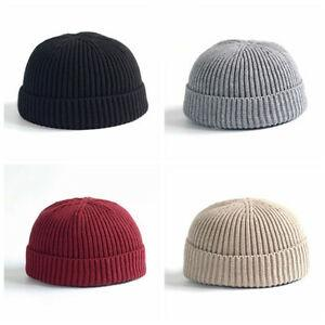 Men Women Knitted Hat Beanie Skullcap Sailor Docker Fisherman Cuff Brimless Cap