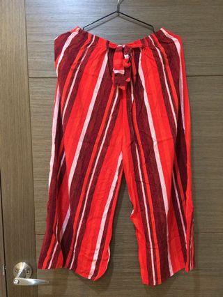 紅白直條棉質寬褲