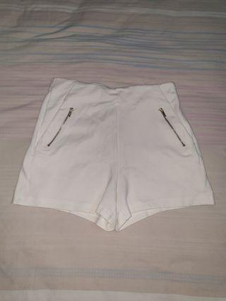 classic white high waisted shorts
