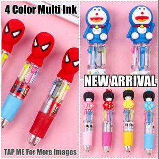 Children Day Gift, Multi 4 Colour Ink Pen, Stationery, Birthday, Christmas, Cute, Party, Gifts, Goodie Bag, Spiderman, Hello Kitty, Doraemon