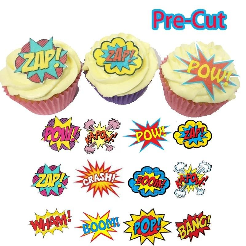 24 pc pre cut edible wafer paper superhero slogan topper