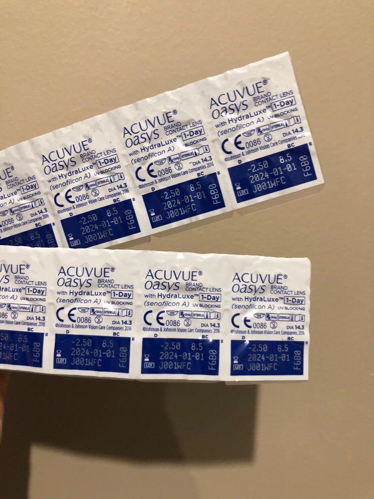 -2.50 Clear, Daily Premium Prescription Contacts x 55 (25 sets)