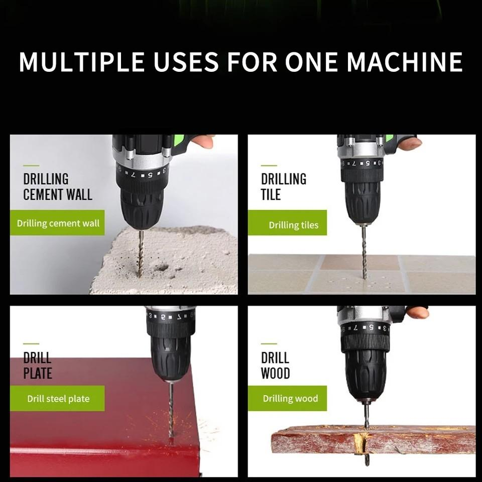 2 Battery Hand Drill Cordless Electric Impact Power Drills Screwdriver Rotary Tools For Woodworking