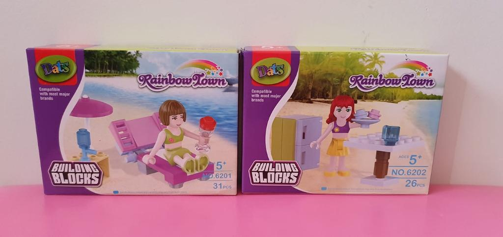 2x Euc Lego sized block sets Rainbow Town beach girls