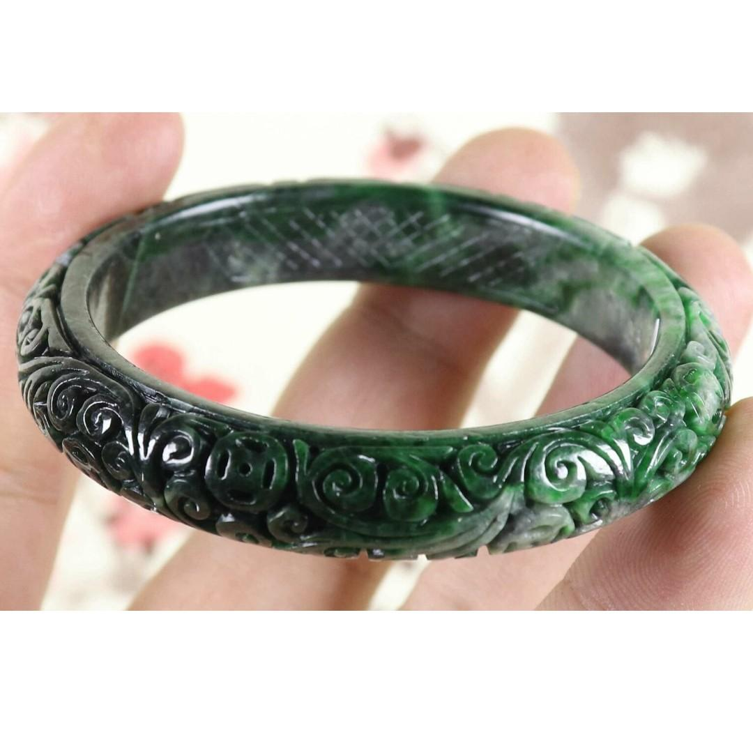 57mm Certified Green Natural A jade Jadeite Moire Bangle Bracelet C3763CQ
