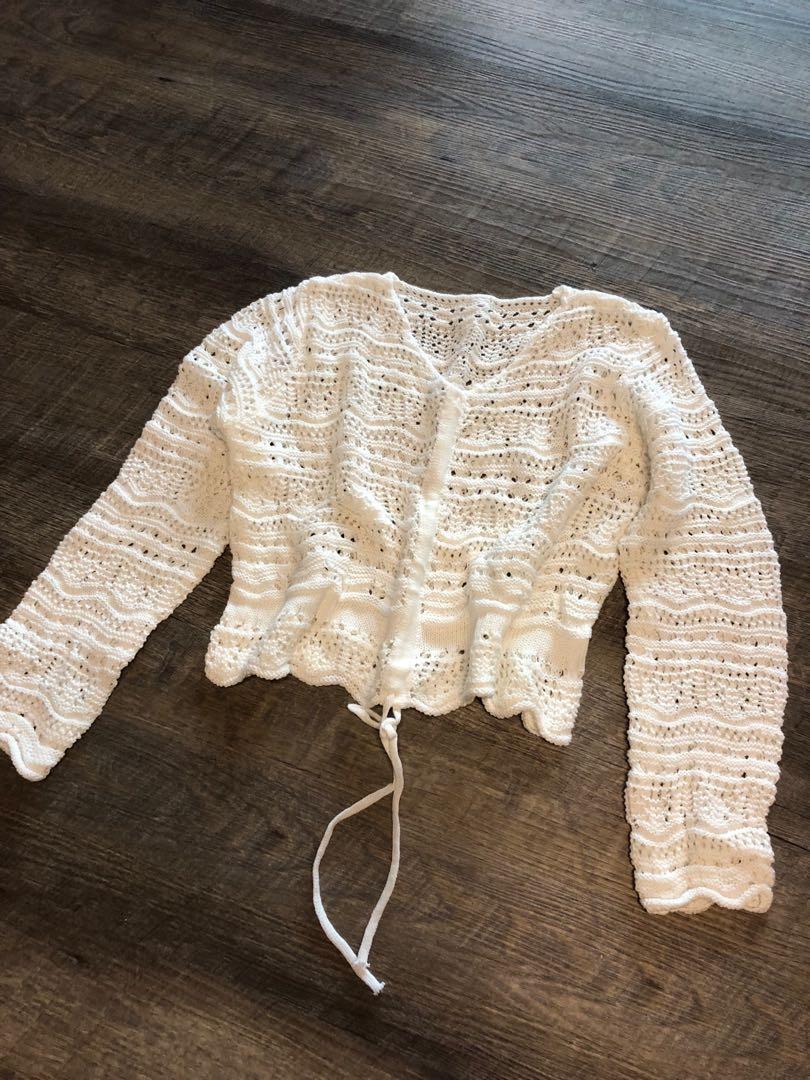 針織鏤空綁帶上衣