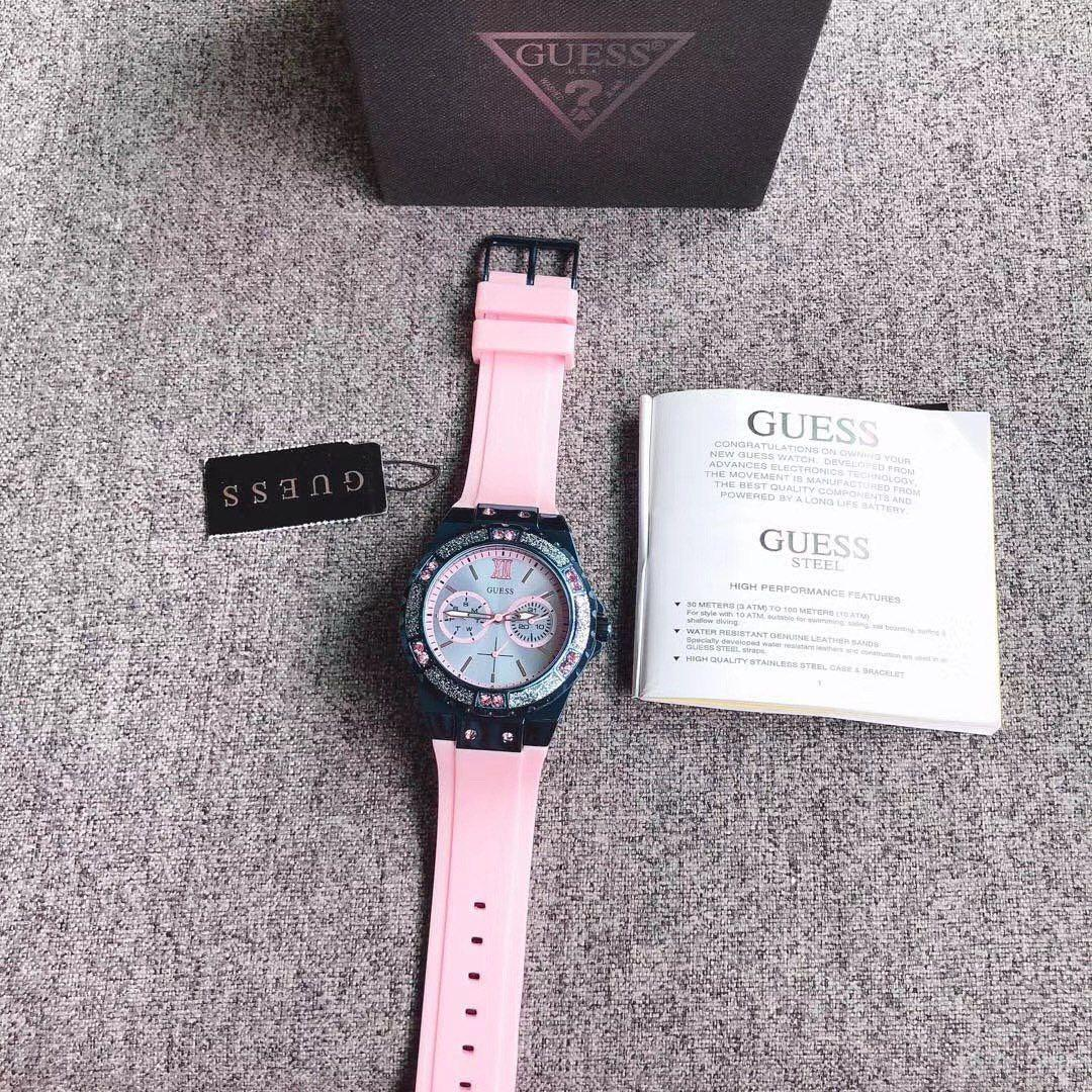 💯 ORIGINAL GUESS LIMELIGHT CRYSTAL BLUE DIAL LADIES WATCH W0755L5