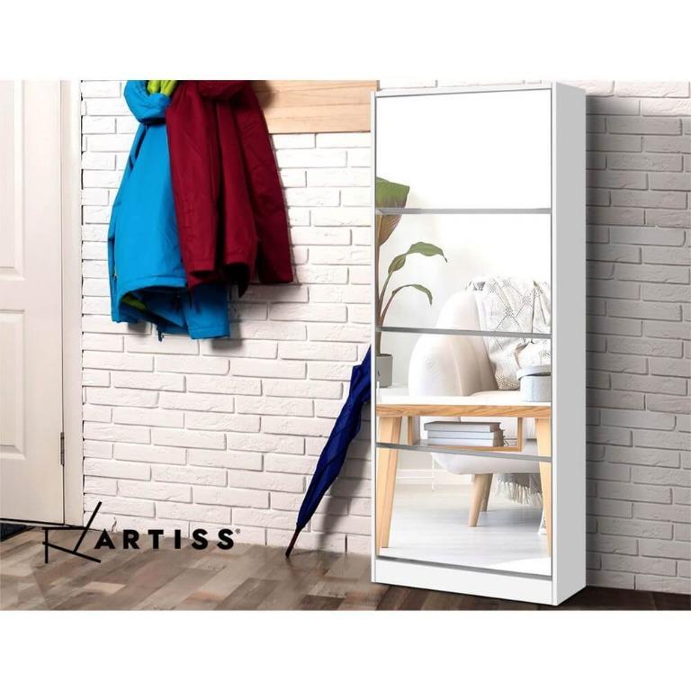 Artiss 60 Pairs Mirror Shoe Cabinet Rack Mirrored Storage Shoes Drawer Organiser