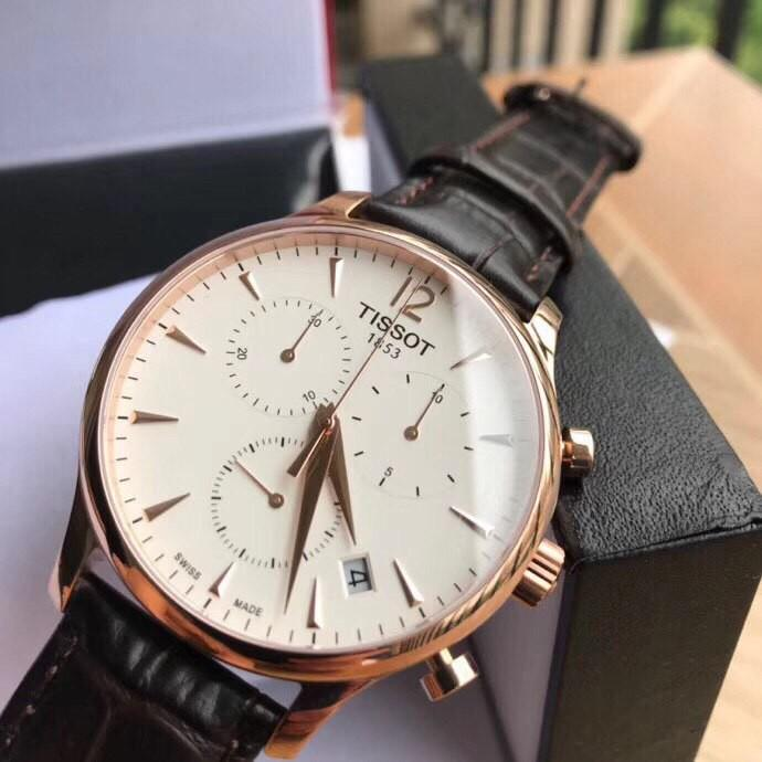 💯Auth Tissot Original Tradition Classic Chronograph Rose Gold-plated Men's Watch T063.617.36.037.00