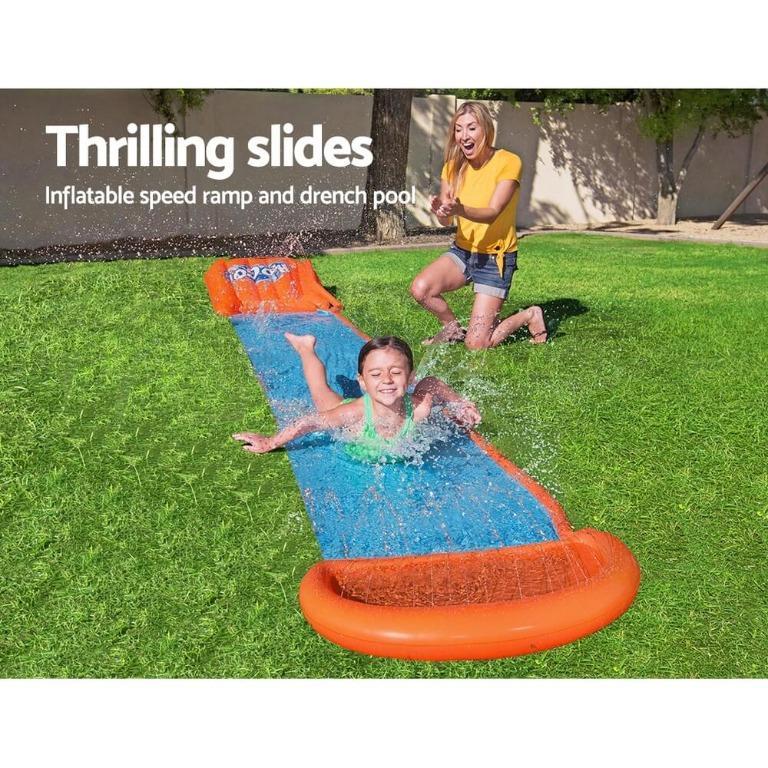 Bestway Inflatable Water Slip And Slide Single Kids Splash Toy Outdoor 5.49M