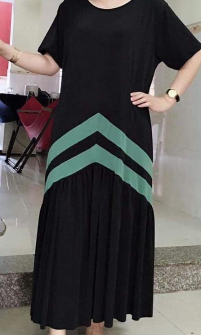Black / Green Spandex Long Dress