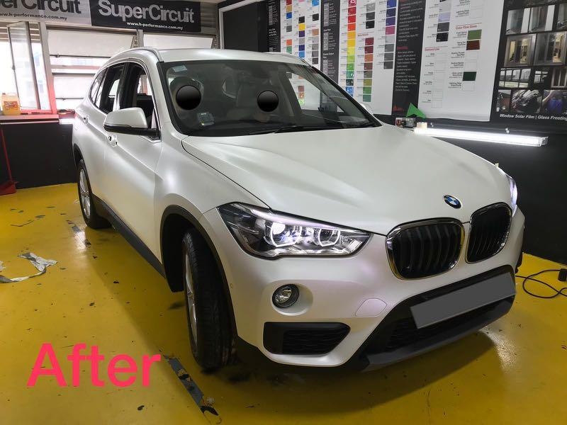 BMW X1 full wrapped 3M Pearl White color!