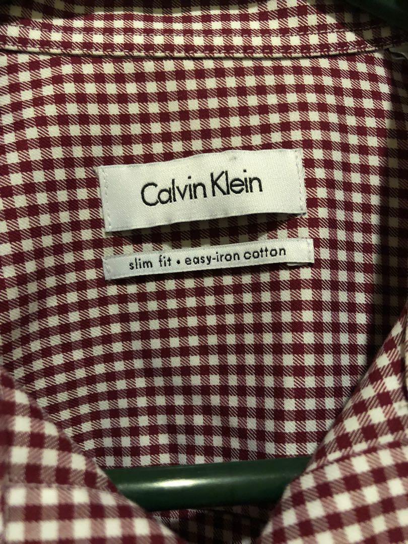 BNWOT Men's Calvin Klein Red & White Check Slim Fit Medium