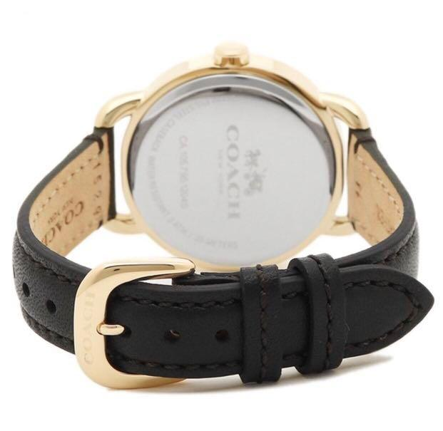 Coach W6052 gold X black rhinestone leather watch