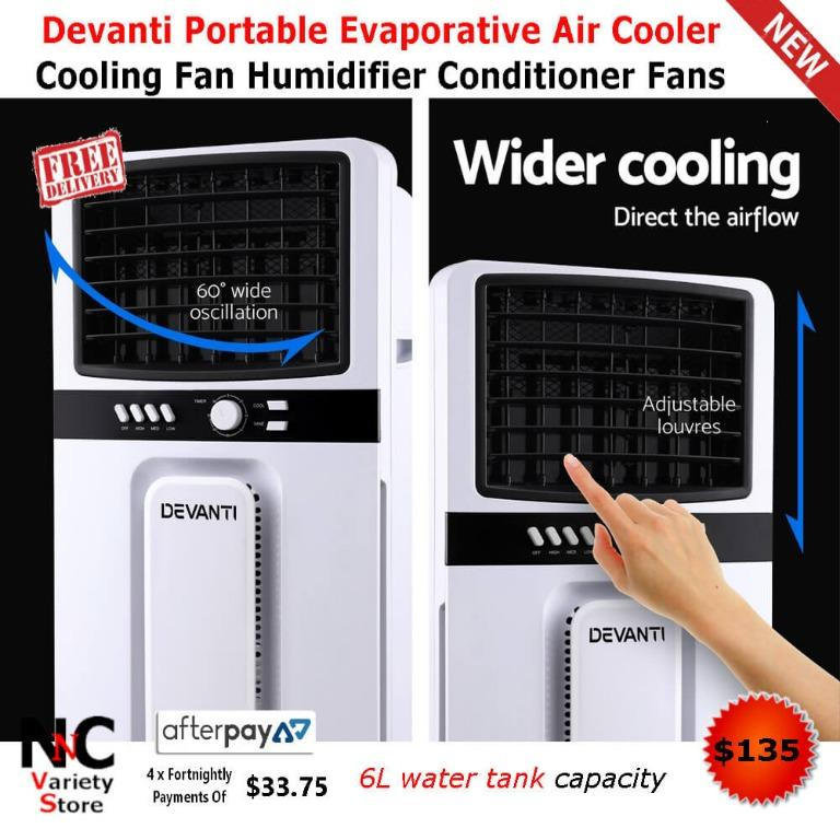Devanti Portable Evaporative Air Cooler Cooling Fan Humidifier Conditioner Fans
