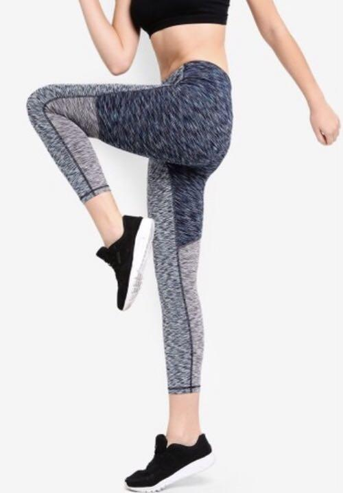 Gap High Rise Colorblock Spacedye 7 8 Leggings Tights Blue Size S Petite Sports Sports Apparel On Carousell