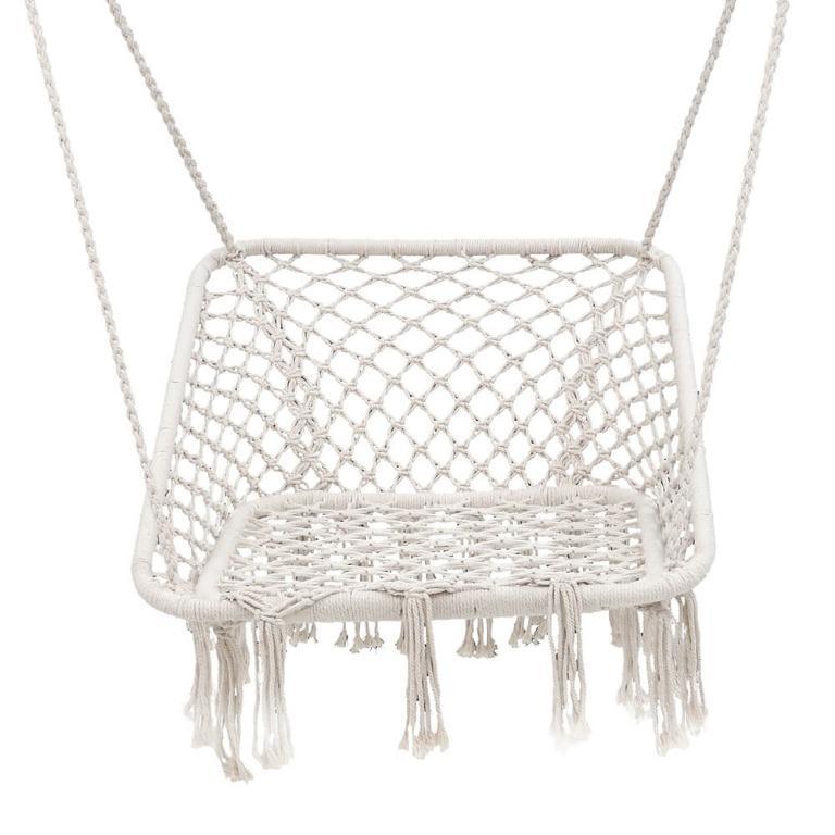 Gardeon Camping Hammock Chair Outdoor Hanging Rope Portable Swing Hammocks Cream