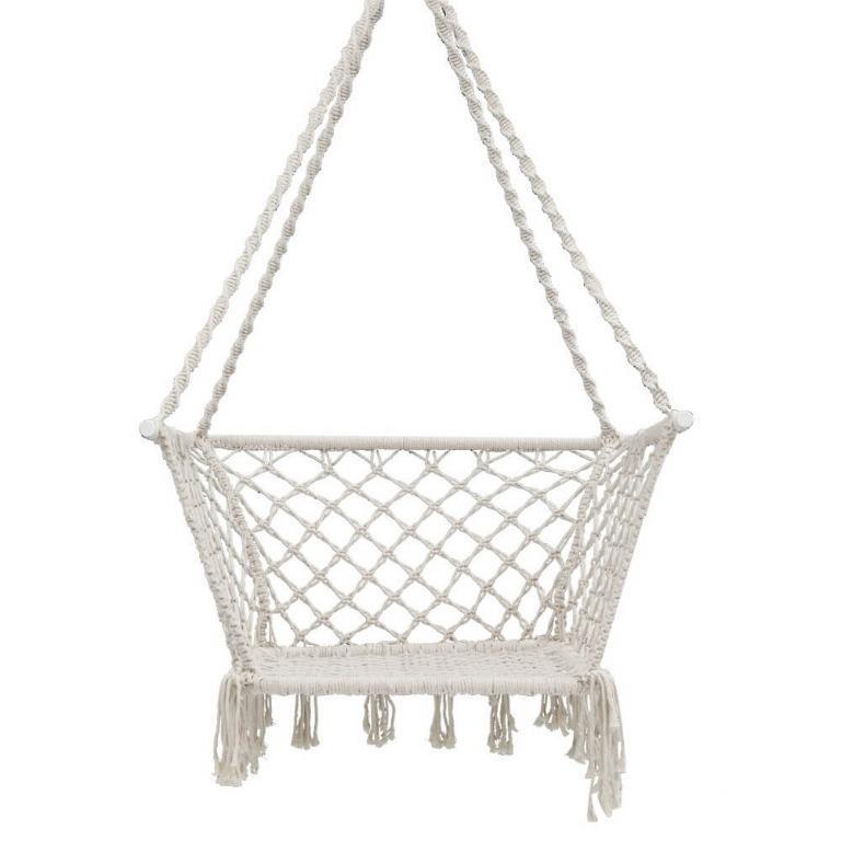 Gardeon Camping Hammock Chair Patio Swing Hammocks Portable Cotton Rope Cream