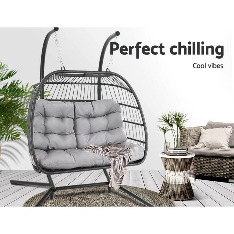 Gardeon Outdoor Furniture Hanging Swing Chair Egg Hammock Pod Wicker 2 Person Grey