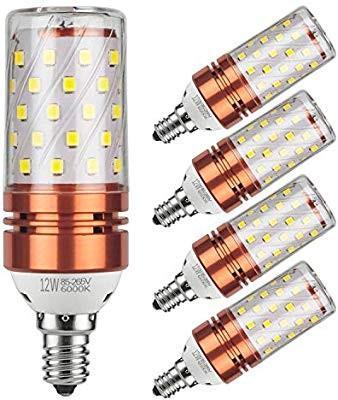 12W LED Candelabra Bulb 100 Watt Equivalent 1200lm Pack of 4 E12 LED Bulbs Decorative Candle Base E12 Corn Non-Dimmable LED Chandelier Bulbs,White 6000K LED Lamp