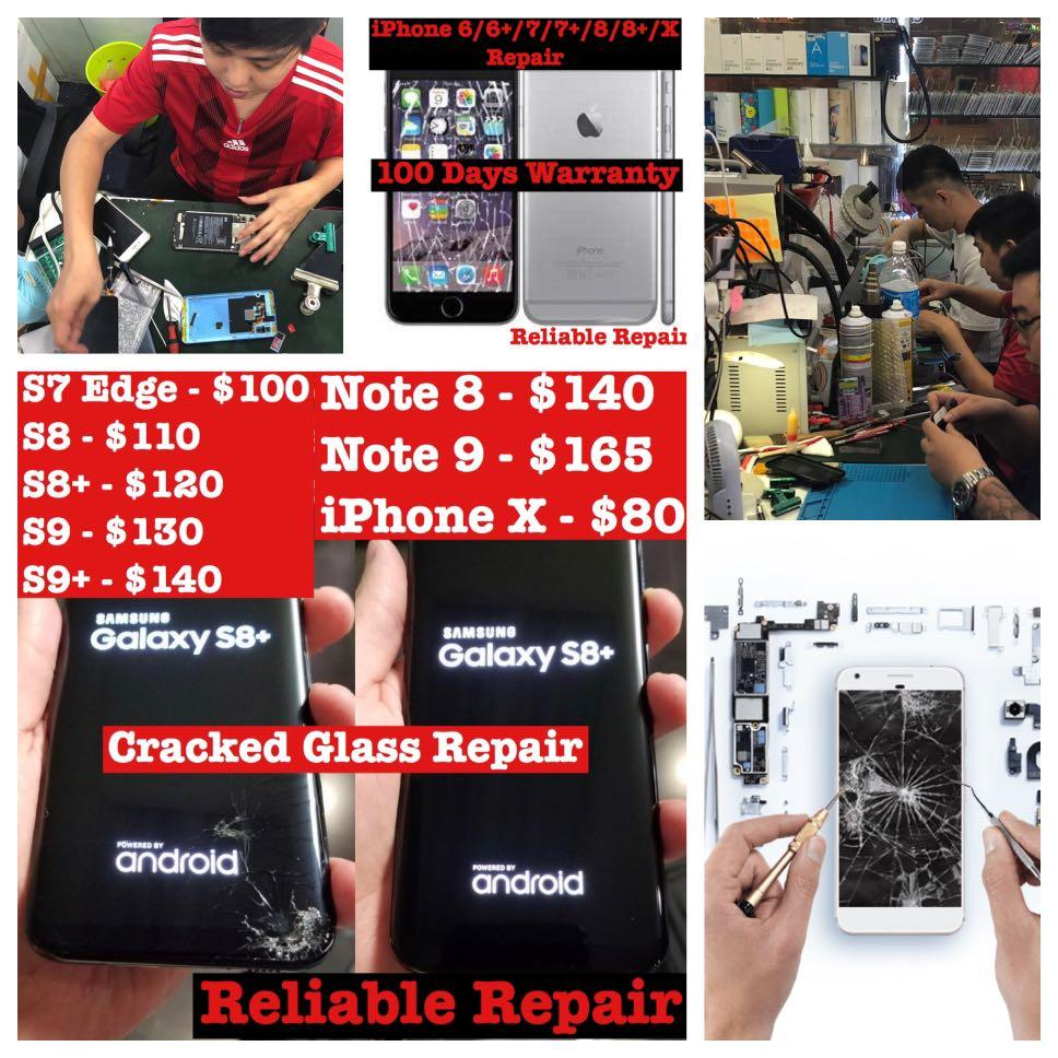iPhone 7 8 X XR XS Screen Repair, Samsung Phone LCD Repair