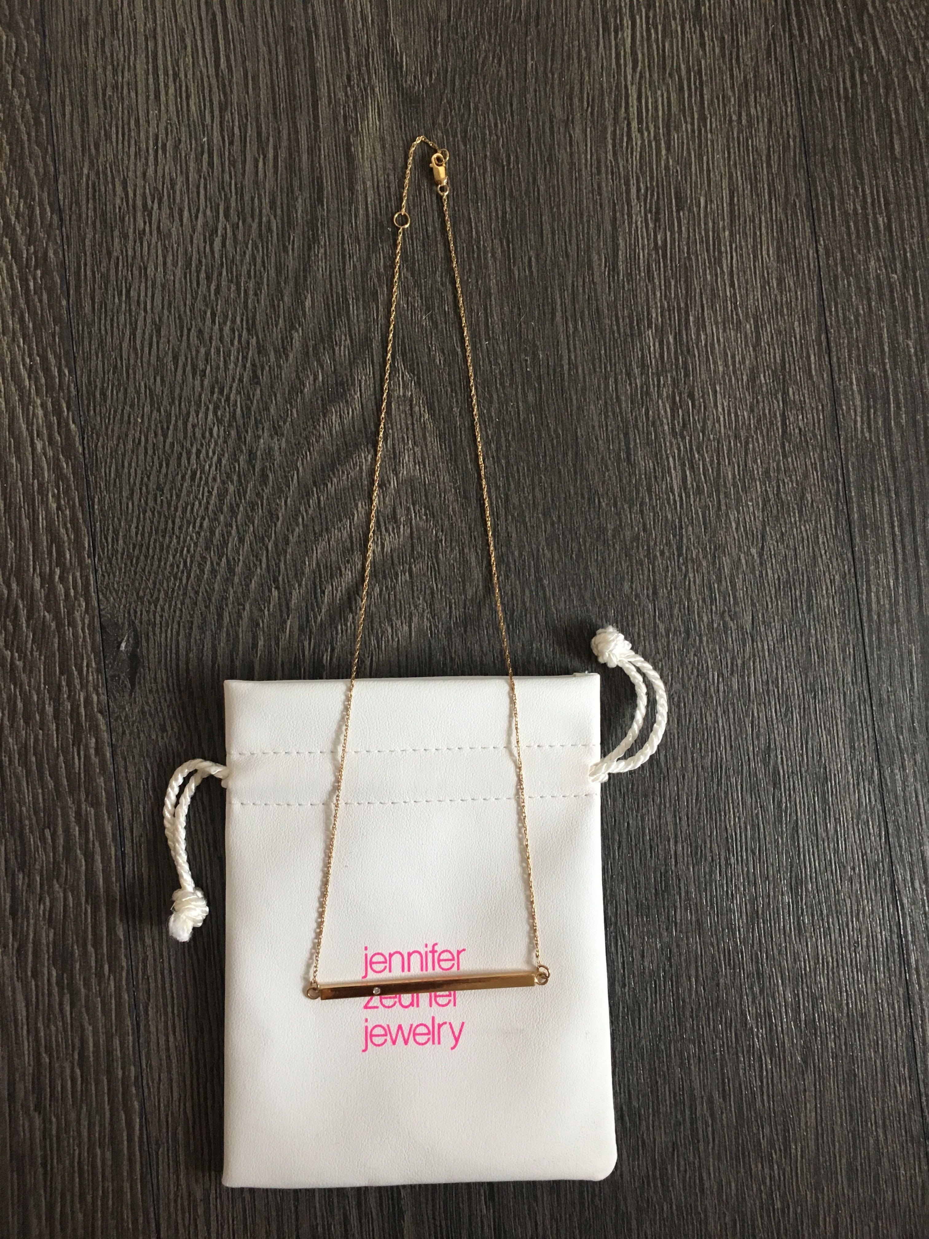 Jennifer Zeuner Chelsea Horizontal Necklace Gold Diamond