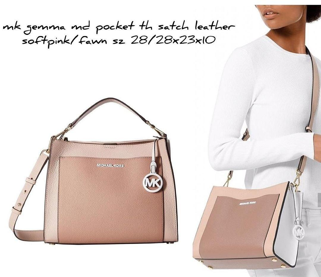 Michael Kors Gemma Medium Pocket Th Satchel Leather Softpink/fawn 28/28×23×10