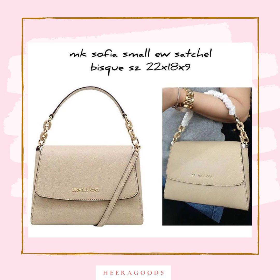 Michael kors sofia saffiano small satchel in black bisque and optic white