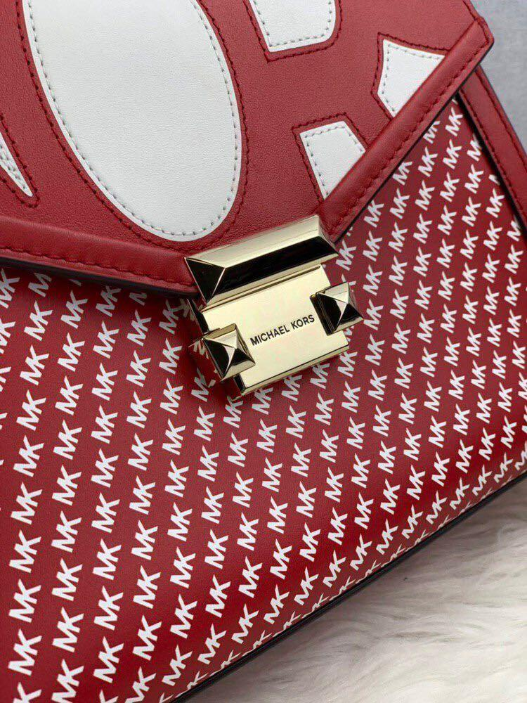 Micheal Kors Whitney Medium Top Handle Leather Satchel in Signature Red/Optic White