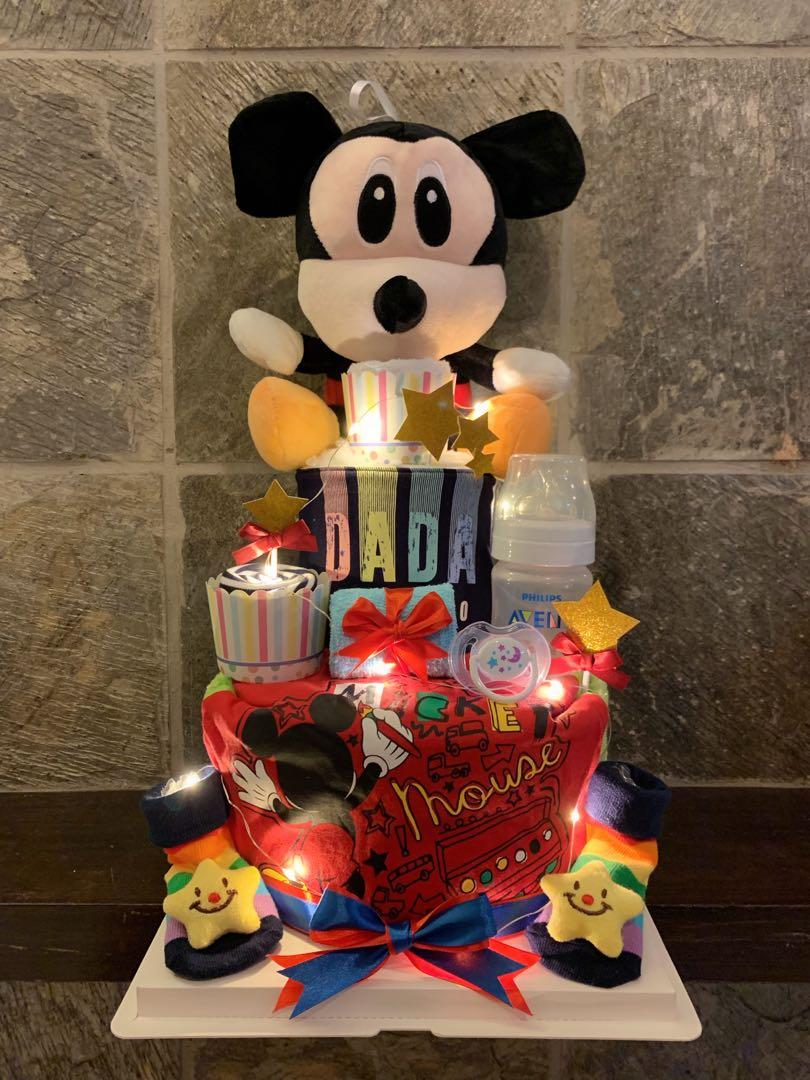 Mickey Mouse diapers cake with led light