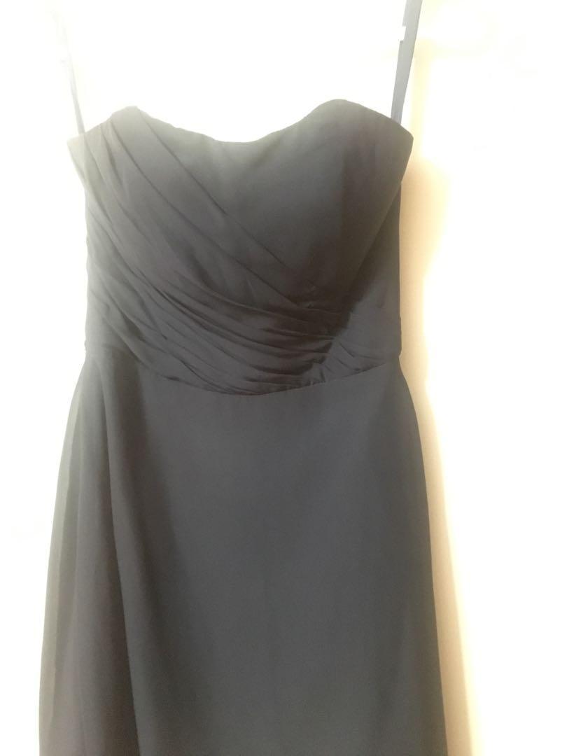 Midnight Blue Sweetheart Chiffon Dress ( David's Bridal)- Size XS-S