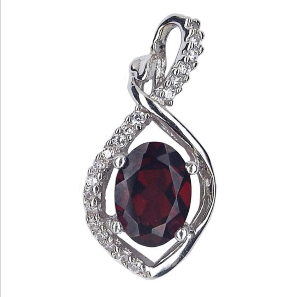 NATURAL PENDANT DARK ORANGE RED GARNET PLATED WHITE GOLD 925 STERLING PERAK ASLI IMPORT CASUAL LOKET ELEGANT
