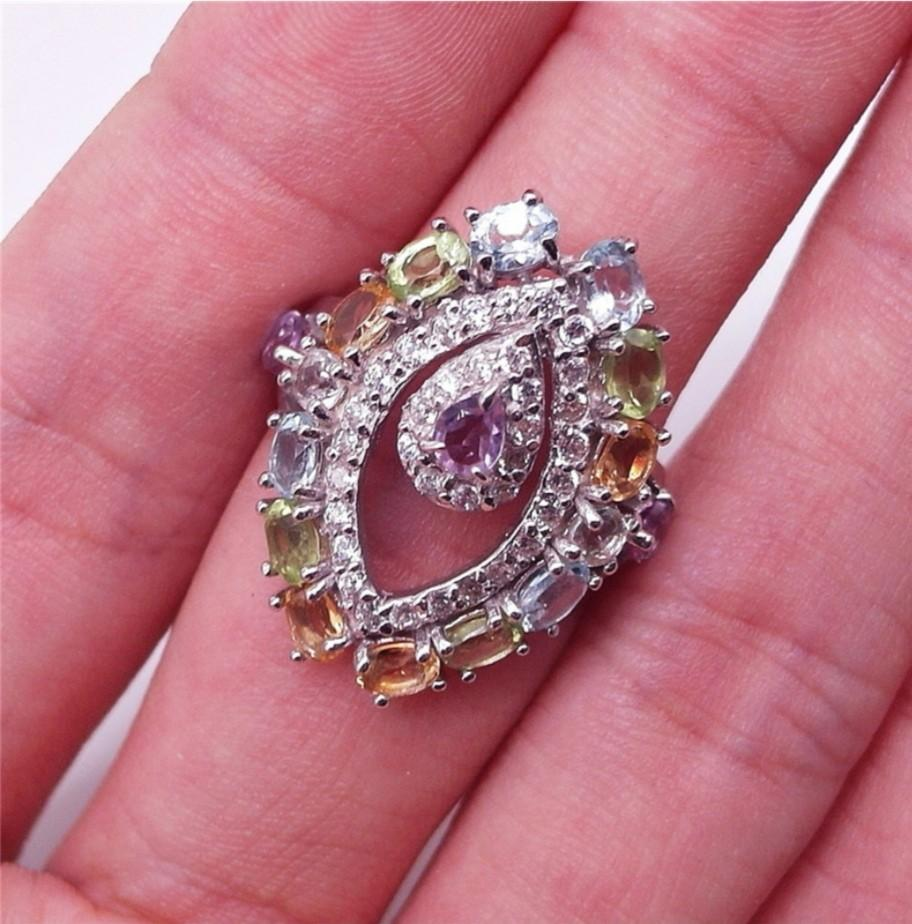 NATURAL RINGS MULTI COLOR GEMSTONE PLATED WHITE GOLD 925 STERLING PERAK ASLI IMPORT PARTY