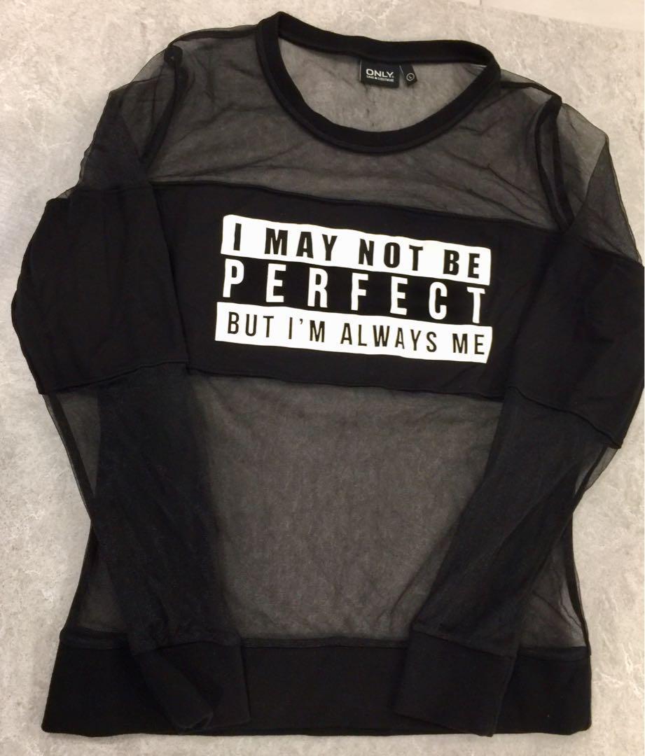 Only True Streetwear Size L Top  Black Long Sleeve Sheer