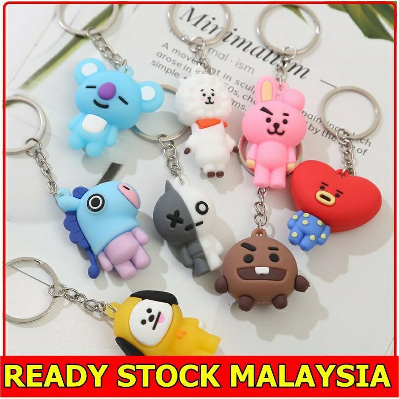 READY STOCK BT21 BTS Kpop KeychainTata Koya Cooky Mang Chimmy Van RJ Shooky Keyring Bag Pendant Key Chain Bangtan Boys
