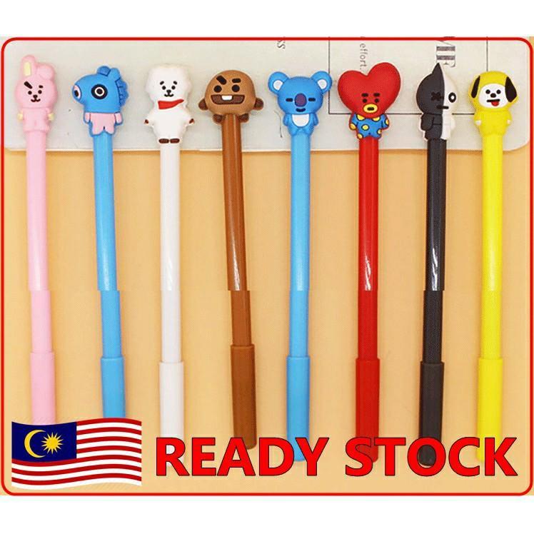 READY STOCK KPOP BTS BT21 Cute Black Ink Gel Pen Kawaii Cartoon Ballpoint Gel Pen Writing Tool Office School Stationery