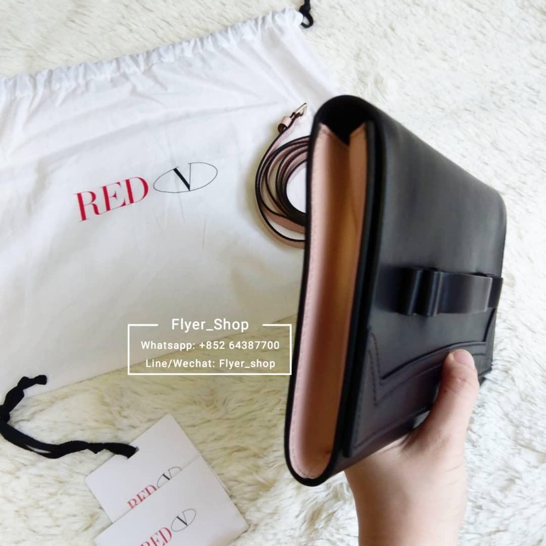 Red Valentino 黑色拼淺粉紅色蝴蝶結Clutch Bag 手拿包 手拎袋