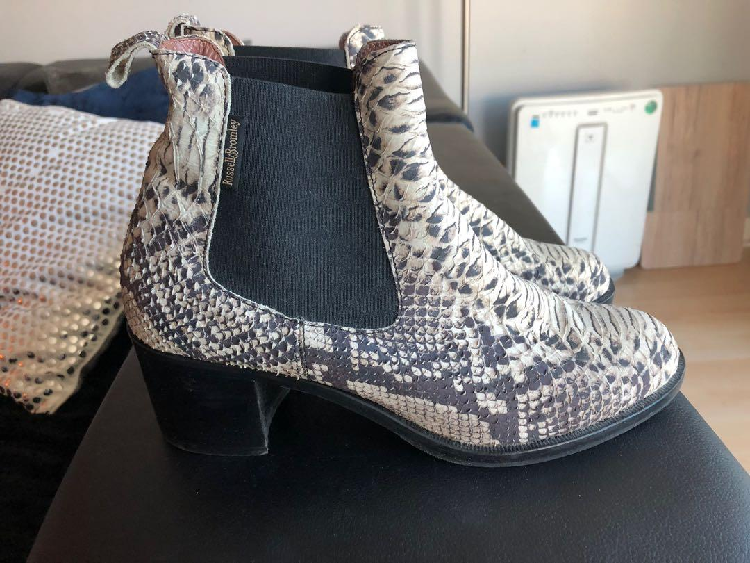 RUSSELL & BROMLEY Snakeskin Leather Chelsea Ankle Boots