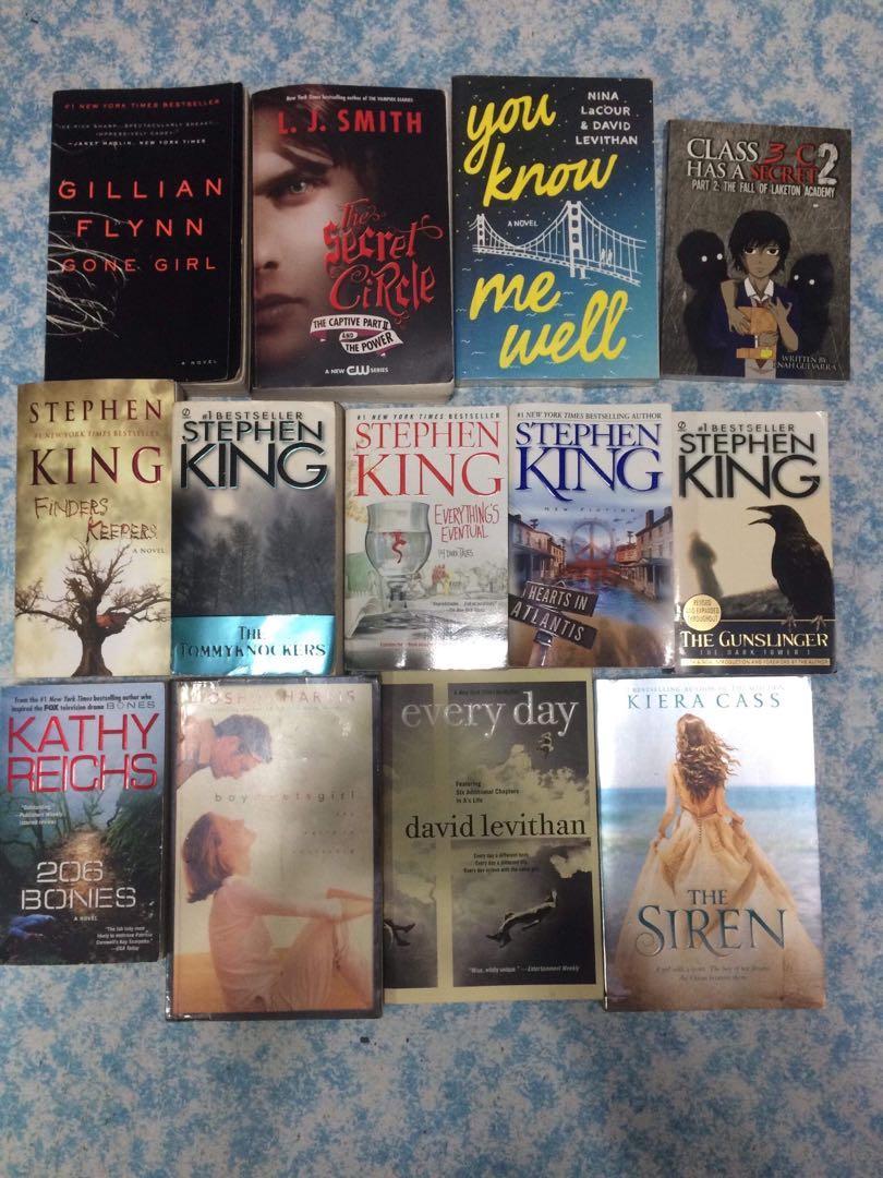 STEPHEN KING, NICHOLAS SPARKS. DAVID LEVITHAN, KATHY REICHS, GEORGE R.R. MARTIN BOOKS