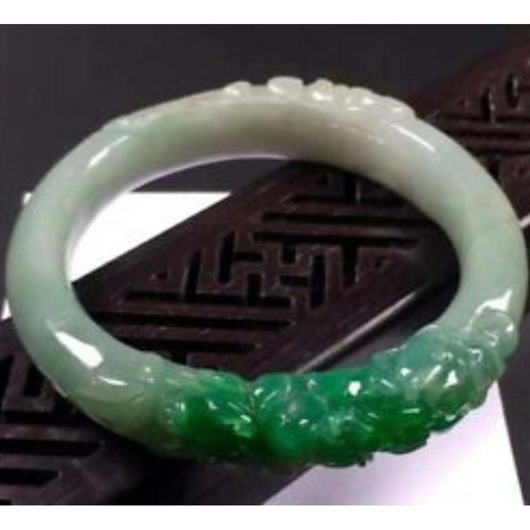 Sun Green 100% Natural Jadeite Jade Carving Flwoer Bracelet Bangle 54.2mm