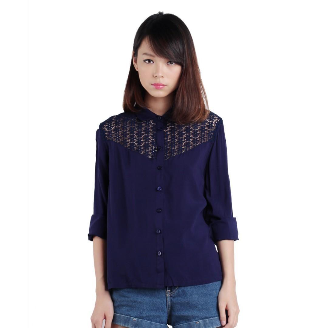 thetinselrack ttr keira crochet shirt in navy blue