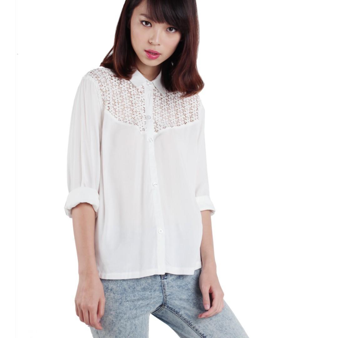 thetinselrack ttr keira crochet shirt in white