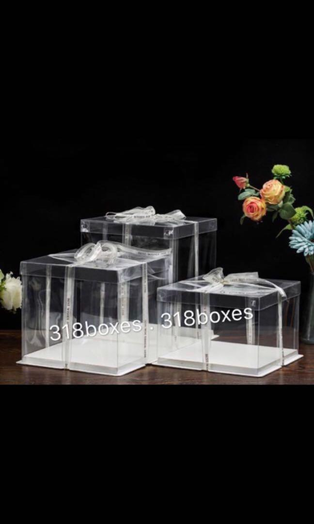 Transparent cake box tall 2 tier 8 / 10 / 12 inch gift party